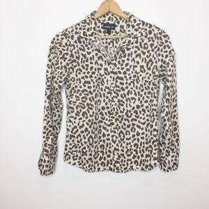 J. Crew perfect fit shirt leopard print  Size 4